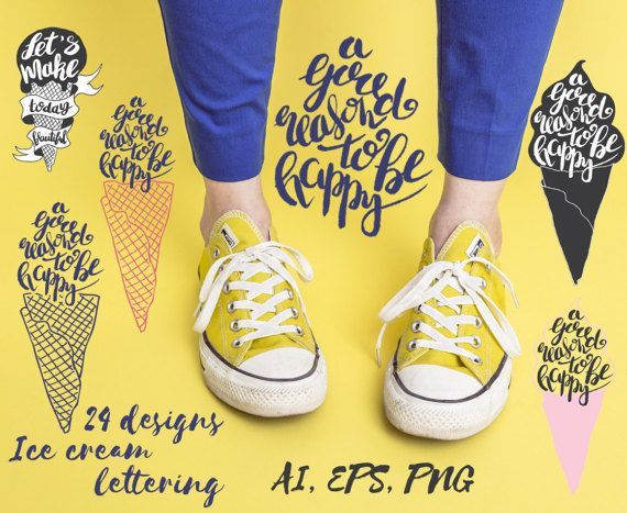 """Hand drawn illustration of ice cream lettering design. Typography posters with lettering inside. The inscription """"Let`s make today beautiful""""."""