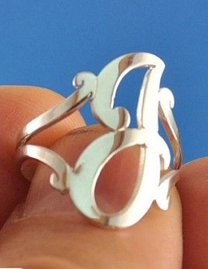 Monogram Cut Out Sterling or Gold Initial Ring