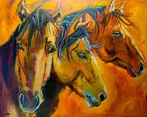 "Daily Paintworks - ""ARTOUTWEST 4 X 5 THREE BROTHERS HORSE ANIMAL ART BY Artist Diane Whitehead"" - Original Fine Art for Sale - © Diane Whitehead"