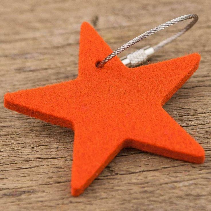 werktat Filz Schlüsselanhänger Stern, orange mit Stahlseil