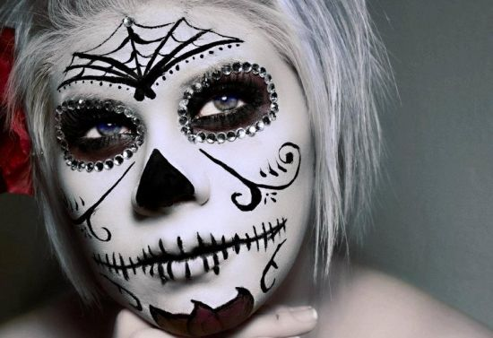 spider inspired black white sugar skull makeup