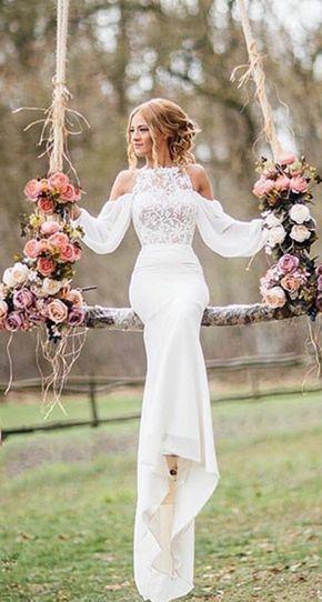 Off the Shoulder Long Sleeves Mermaid Wedding Dresses