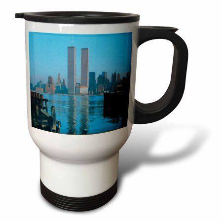 3dRose Vintage Twin Towers II, Travel Mug, 14oz, Stainless Steel