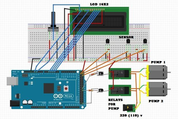 Solar hot water controller with arduino mega and ds18b20 temp sensor