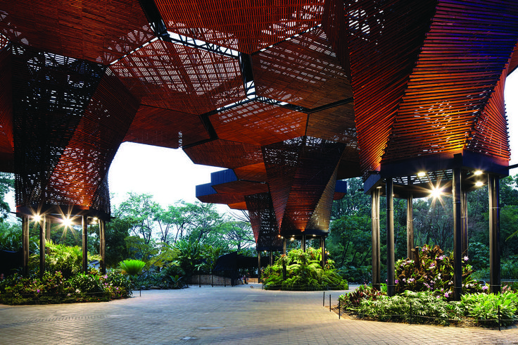 Orquideorama is both a garden and public space designed through scale, organization and pattern. Allowing growth and flexibility through seven hexagonal modules, the project provides space for a range of activities between structural supports and clustered gardens | Medellin, COLOMBIA