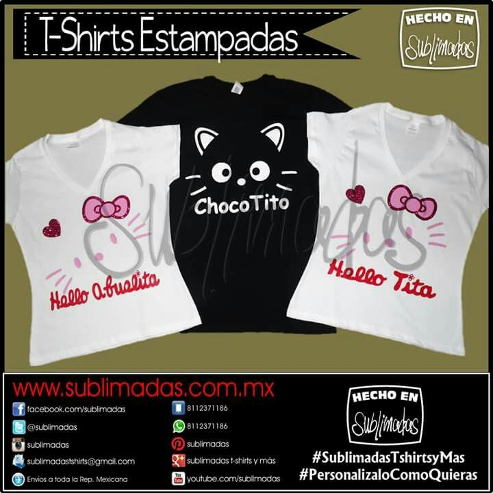 T-Shirts Estampadas - Hello Kitty Family Gracias x su Confianza! #Pedidos #SublimadasTshirtsyMas #PersonalizaloComoQuieras