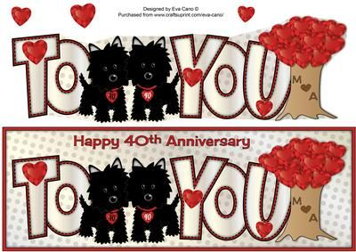Jazz Dogs 40th Anniversary M A large dl on Craftsuprint designed by Eva Cano - Large dl design featuring two of my cute black Jazz Dogs (Scotties) and a tree with ruby hearts for 40th Anniversaries. There is an insert that matches this design (cup552600_750).This is a personalised design, if you would like something similar, please contact me via the Ask the Designers area in the Forum and I will be happy to adapt the design for you. Please have a look at my other designs by clicking on my…