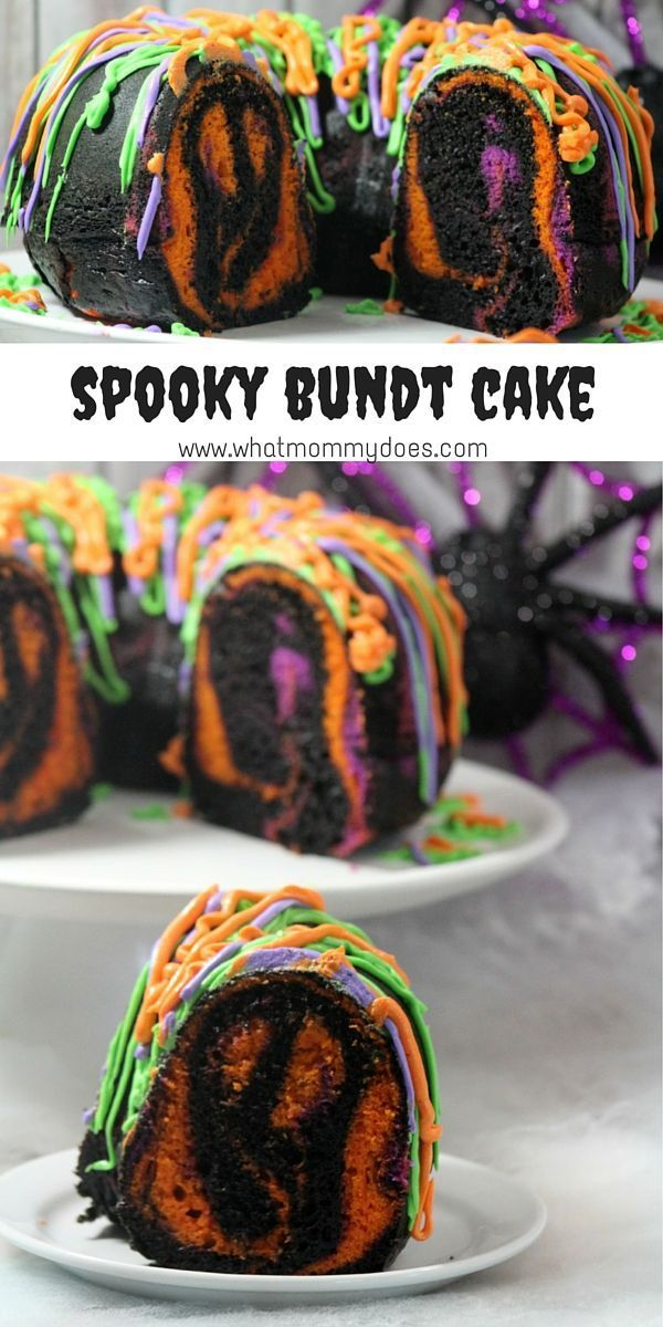 I can't bake very well, and even I was able to make this recipe! Your guests will never guess this amazing marbled Halloween bundt cake is so easy to make. I'm going to use as the feature of my Halloween party food buffet! I think it looks impressive with all the colors! | http://www.WhatMommyDoes.com | Category: Halloween Dessert Ideas