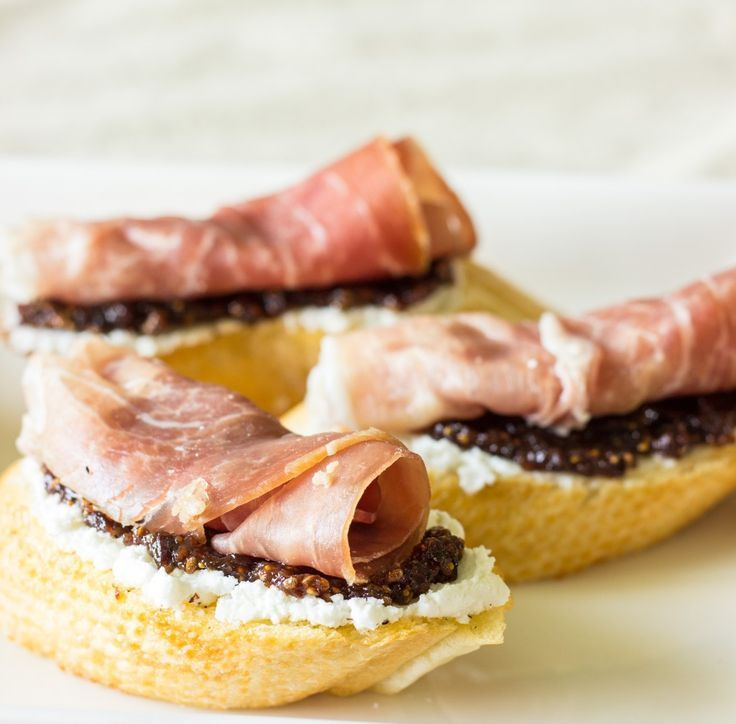 Crostini with Proscuitto, Homemade Fig Jam, & Goat Cheese.  #Appetizers #CleanEating Sherman Financial Group