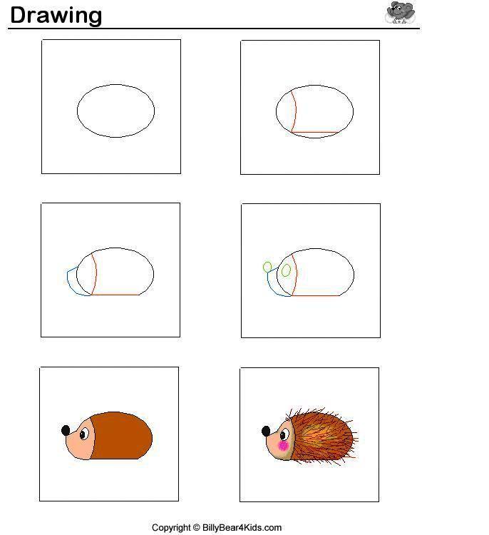 Egel tekenen met kleuters / desenhando+animais