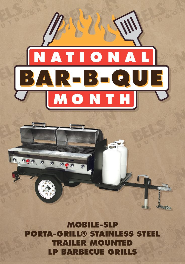 """Trailer Mounted Stainless Steel PORTA-GRILL® Stainless is the way to go! It's corrosion, heat, & fire resistant, clean, attractive, and durable!  The trailer body is 1/10"""" thick 12 ga. steel tough. The finish is a non-toxic, heat-resistant black enamel with an under slung spring axle and 4.8"""" x 12"""" tires. This beauty is fully equipped with dual tail brake lights, 1-7/8"""" coupler and a swing tongue jack. Dual 40 lb. propane tanks included."""