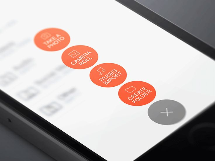 Add content button and menu animation | Mobile user interface design #UI #gif