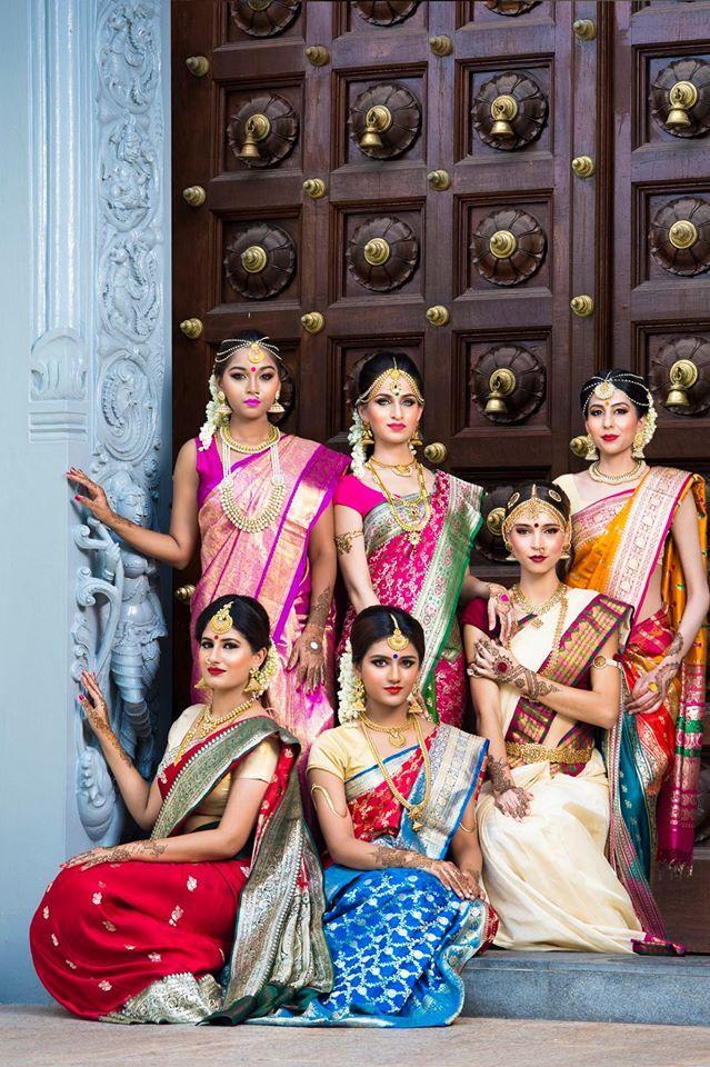 South Indian bride. Gold Indian bridal jewelry.Temple jewelry. Jhumkis. Silk kanchipuram sari.Braid with fresh jasmine flowers. Tamil bride. Telugu bride. Kannada bride. Hindu bride. Malayalee bride.Kerala bride.South Indian wedding.