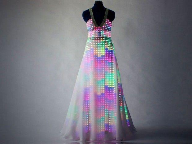 CuteCircuit designs Swavorski LED Dress called Aurora