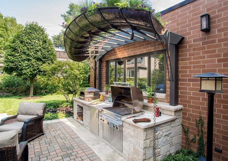 Backyard Small Outdoor Kitchen Backyard with an Outdoor Kitchen Mediterranean Style for Modern House