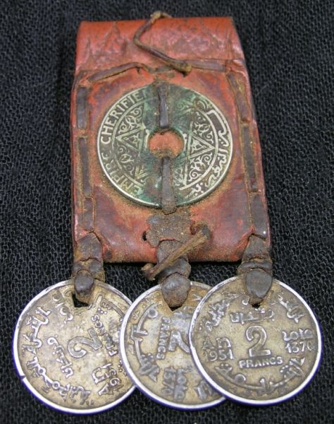 Antique Leather kitab pendant with coins Southen Oasis Morocco
