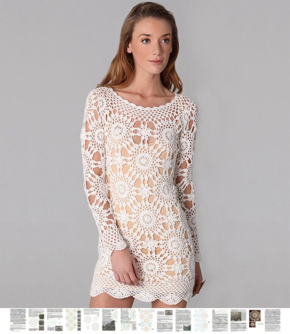 Crochet dress PATTERN, detailed description in English, trendy party dress, crochet wedding dress pattern, designer crochet dresses PATTERN.