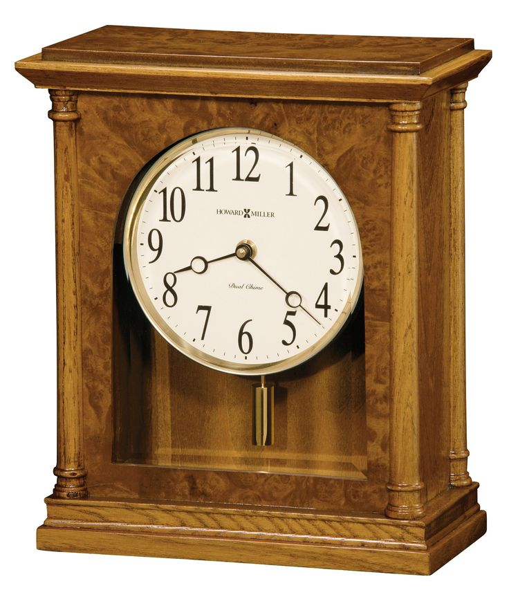 Carly Mantel Clock. This light-wood traditional mantel clock showcases elegance in a lighter side of oak. Quartz, battery-operated, dual-chime Kieninger movement plays full Westminster or Ave Maria chimes with strike on the hour, with optional 4/4 chime feature which plays 1/4, 1/2, and 3/4 chimes accordingly. Volume control, automatic nighttime volume reduction option, and automatic nighttime chime shut-off option. Requires two C sized batteries.