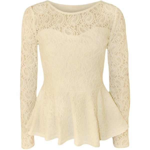 WearAll Women's Lace Long Sleeve Peplum Top Cream US 4-6 (UK 8-10) (£18) ❤ liked on Polyvore featuring tops, shirts, blusas, blouses, long sleeves, long sleeve lace top, cream long sleeve top, long-sleeve peplum tops, long sleeve lace shirt and lace shirt