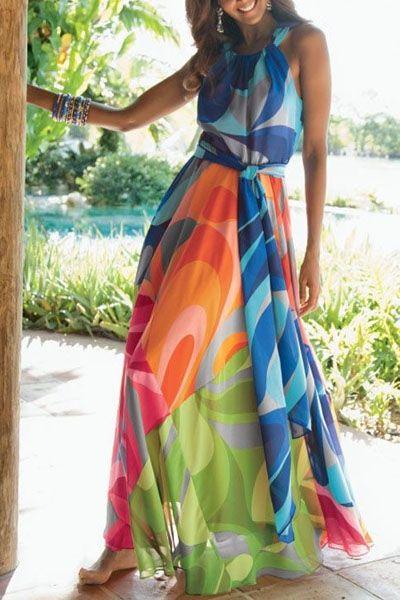 Sleeveless Colorful Maxi Dress: Maxi Dresses   ZAFUL