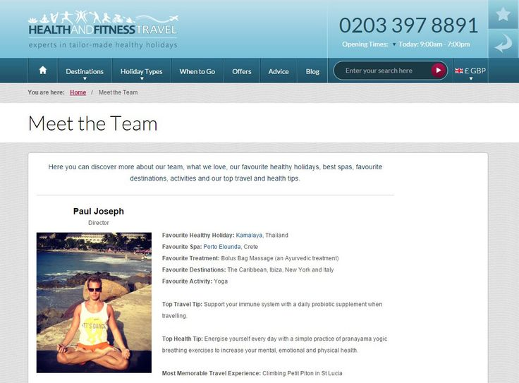 Discover the top #travel and health tips, favourite #healthy holidays, destinations and activities from our dedicated #health and #fitness travel specialists on our Meet the Team page.