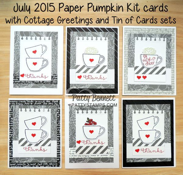 July 2015 Thanks a Latte coffee cup Paper Pumpkin card kit paired with the Stampin Up! Cottage Greetings stamp set!  Cute Thanks and get well cards!