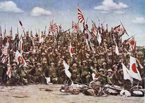 Imperial Japanese Navy Marines of the Sasebo Combined Landing Force, celebrating victory after the Battle of Manado, Dutch East Indies, January, 1942.-Pin it by Gustavo Bueso-Jacquier