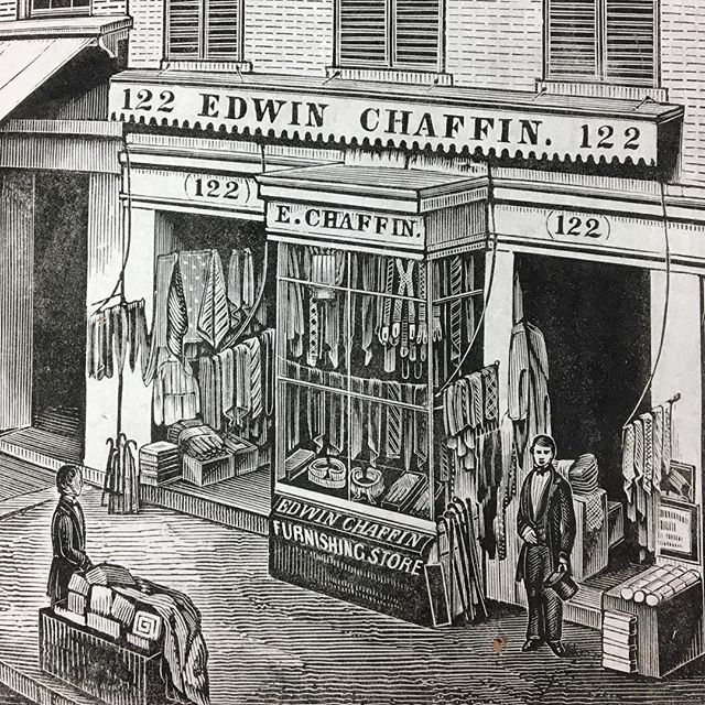 """Here in the U.S. today is called Black Friday and tomorrow is Small Business Saturday -- both are considered the start of the holiday shopping season. In honor of all the local businesses out there who are certain to have exactly what you are hunting for, we post this wood engraving of a shop in St. Louis, Missouri, ca. 1845. Edwin Chaffin had a gentlemen's furnishing store where he sold """"ready-made linen, gloves, hosiery, scarfs, cravats, stocks, braces, &c., &c."""" If you use the IG zoom…"""