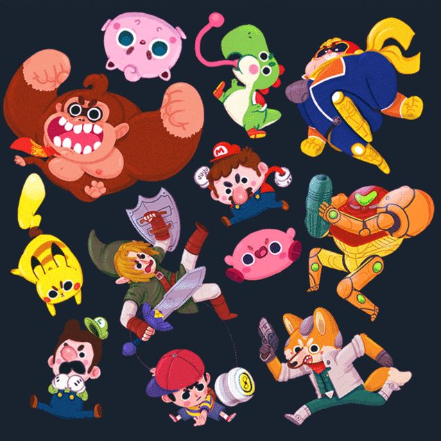 Here's an adorable reinterpretation of rampaging Nintendo characters from Super Smash Bros. #GIF