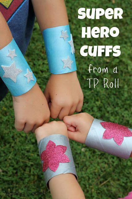 Make super hero cuffs from an empty paper roll! Fun!! :-)