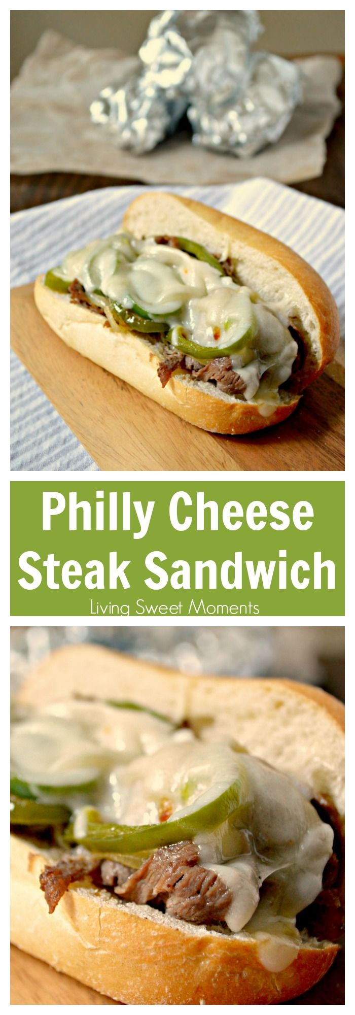 Easy Philly Cheese Steak Sandwich Recipe  - this easy weeknight dinner idea is made in no time and has so much flavor! Enjoy authentic flavor in one bite. More quick weeknight dinner recipes at livingsweetmoments.com via @Livingsmoments