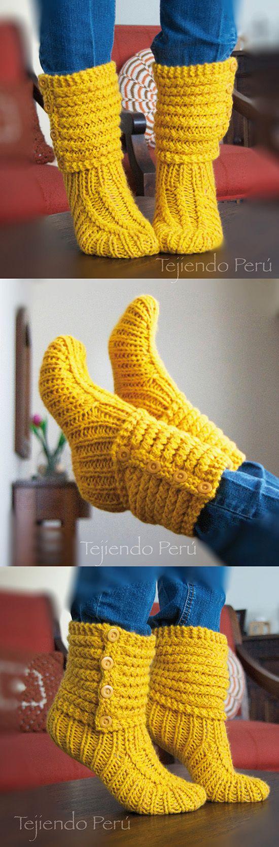 Botas de casa tejidas en dos agujas o palitos en el punto choclo o maíz! Video del paso a paso con toooodos los detalles :)