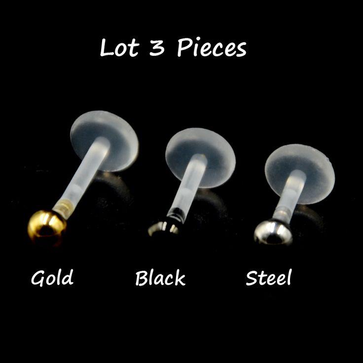 3Pcs Bioplast Flexible Push-in Labret Lip Stud  with Press Fit 3mm Steel Ball 16G Ear Cartilage Tragus Piercing Body Jewelry
