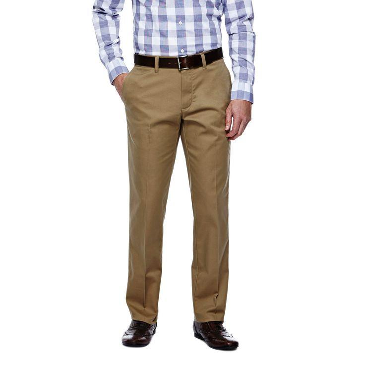 Haggar H26 - Men's Straight Fit No Iron Pants British Khaki 36X30