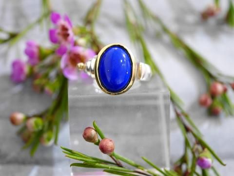 Lapis Ring with Gold accent