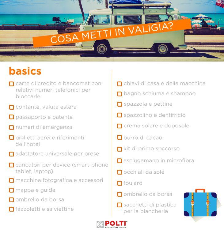 BASICS. Scarica gratis la nostra checklist per fare la valigia al volo.