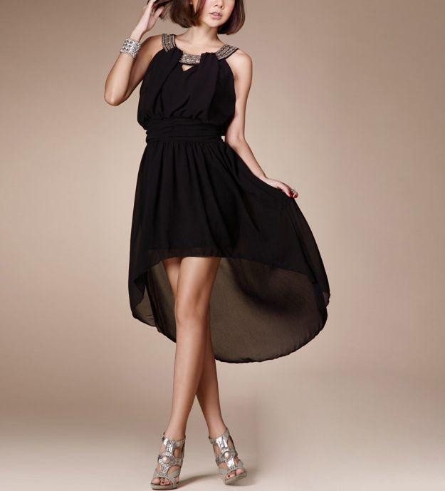 Black Asymmetrical Beads Decor Neck Empire Waist Dress @ MayKool.com