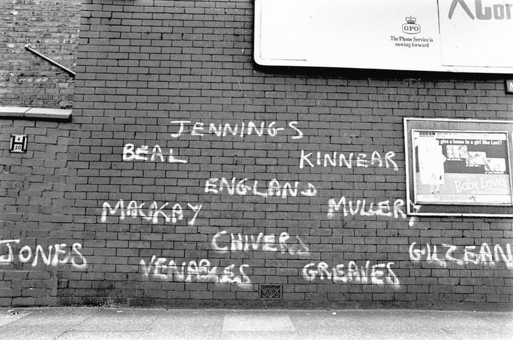 Spurs Fans Graffiti The Tottenham Hotspur Team Line Up On A Manchester Wall In 1968