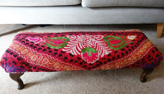 Shocking Pink Embroidered Eclectic Ubzek Footstool by Swankyseats