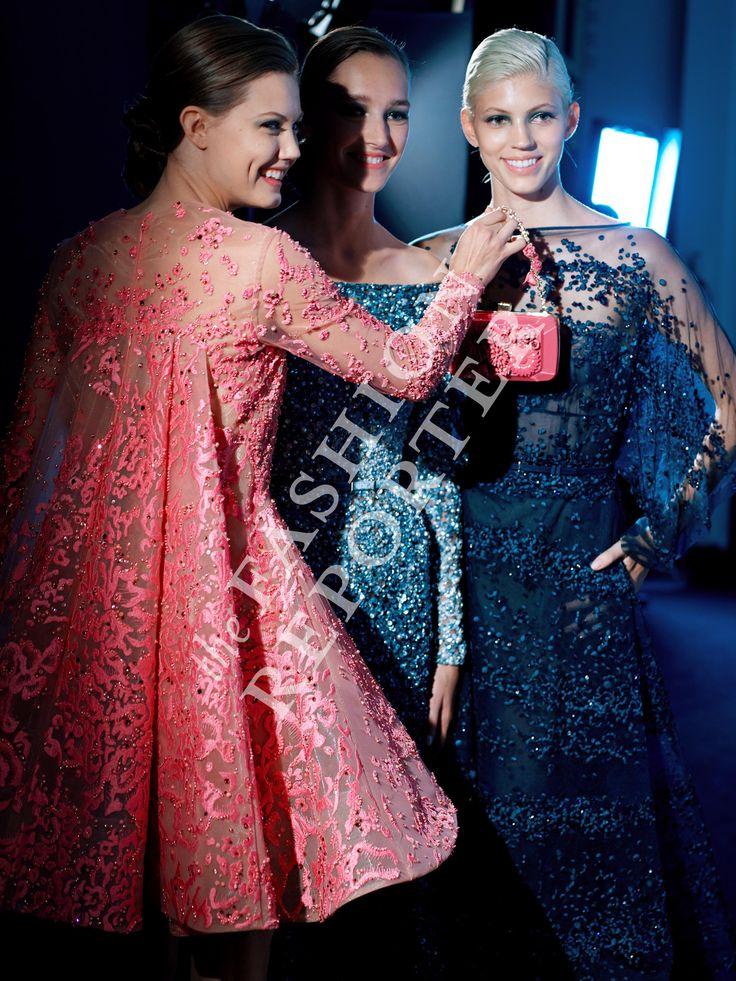 Lindsey Wixson, Josephine Le Tutour and Devon Windsor at Elie Saab Backstage | Haute Couture FW14-15 | Ph. Antonello Trio
