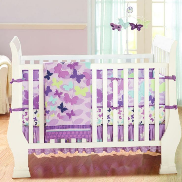 Baby Bedding Crib Cot Sets 7 Piece Purple Butterfly Theme