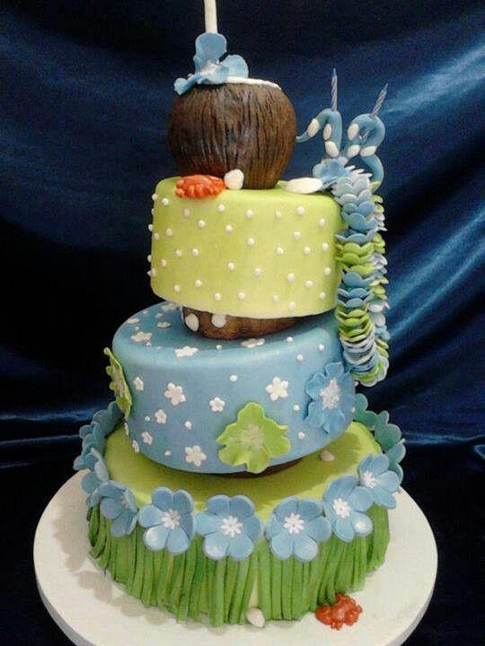 Decoracion Quincea?eras Hawaiano ~ Pastel Hawaiano  Pastel Hawaiano, Cakes Ideas, Pastel Cerveza Tennis