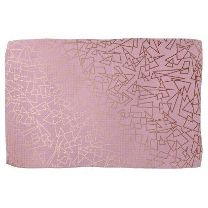 Elegant stylish rose gold geometric pattern grey hand towel - decor gifts diy home & living cyo giftidea