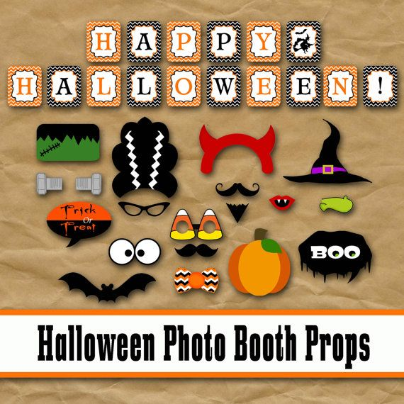Halloween Photo Booth Props and Decorations - Printable Props and Banner - Over 40 Images - PDF - Jpeg - Digital Download- INSTaNT DOWNLoAD by OldMarket on Etsy