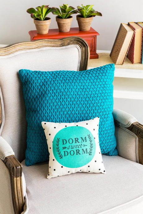 """""""Dorm Sweet Dorm.""""<br /> <br /> This sweet and inspirational saying is printed in a modern fashion on the mint canvas decorative pillow. Any college student would love to add this pillow to their dorm room!<br /> <br /> - 9"""" x 8""""<br /> - Imported<br />"""