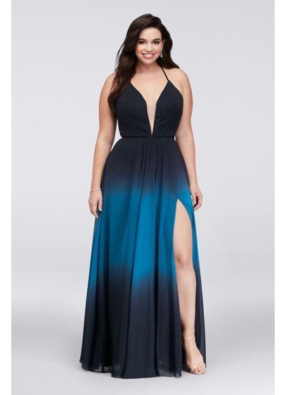 Ombre Chiffon Halter A-Line Plus Size Gown A20299W