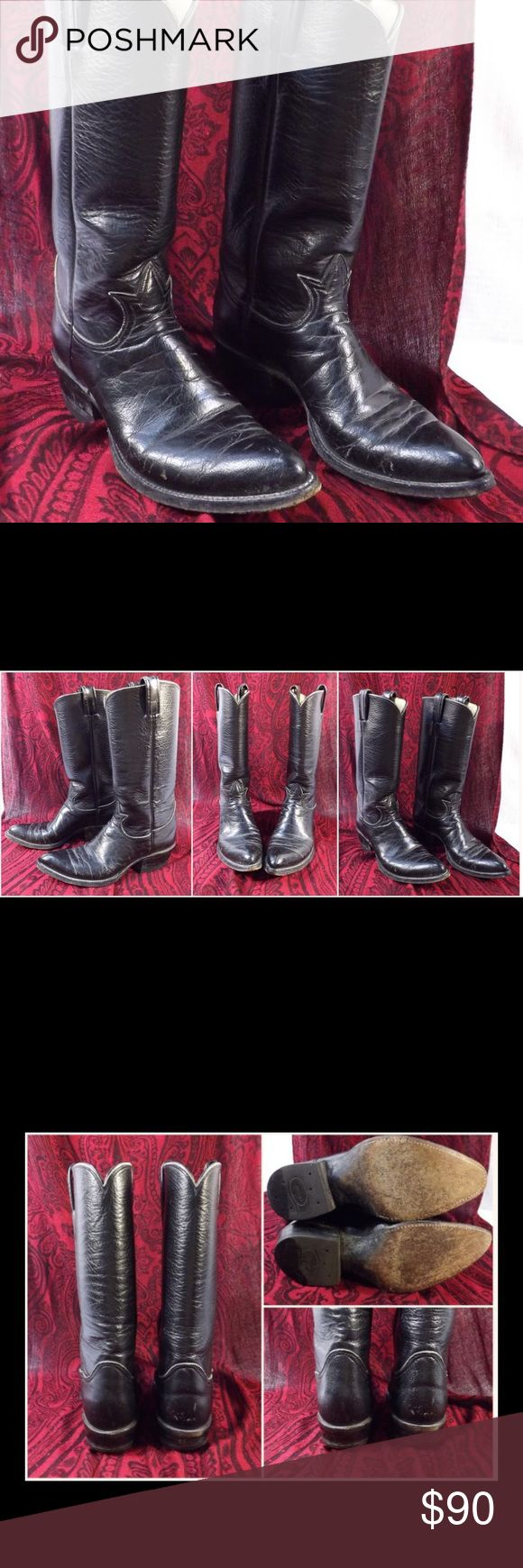 Tony Lama Black Leather Women's Cowgirl Boots Tony Lama Black Leather Women's Cowgirl Boots.  Kick up your heels for a night on the town in these stylish black leather cowgirl boots.  The perfect accessory for any outfit.  Retail $300. Tony Lama Shoes Combat & Moto Boots