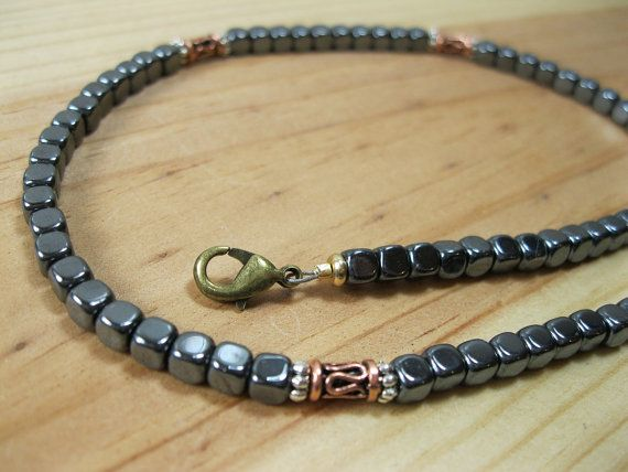 Hematite and Copper Necklace - Mens Beaded Necklace - Tribal Necklace - Mens Necklace - Mens Choker on Etsy, $42.00