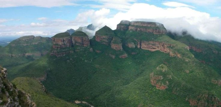 #65 of the #365reasonstovisitAfrica - The Three Rondavels, gets its name as it is shaped like traditional African beehive huts, also known as the Three Sisters. A geological formation along the Mpumalanga's Panorama Route. Get to see the Three Rondavels on a 3 Day Classic Kruger Park Safari http://ow.ly/4n64R6