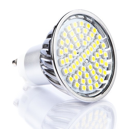 60 SMD Glass Covered - 4.5 Watt GU10 LED Bulb (50W Equivalent) - More LED s means more light!